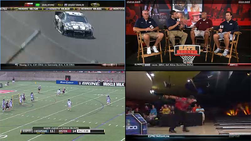 Watching 4 ESPN channels at once online with Watch ESPN