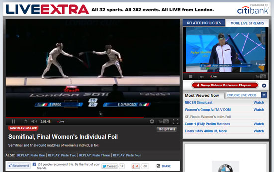 Watching two live feeds from the 2012 London Olympics on NBCOlympics.com