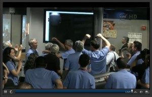 Control Room Celebrates When First Picture is Sent Back