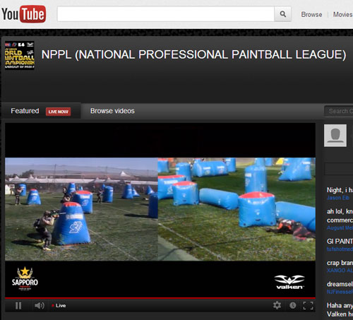 Screenshot of the NPPL Las Vegas World Paintball Championships Live Online on YouTube