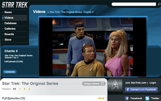 Screenshot of the free Star Trek episode player online
