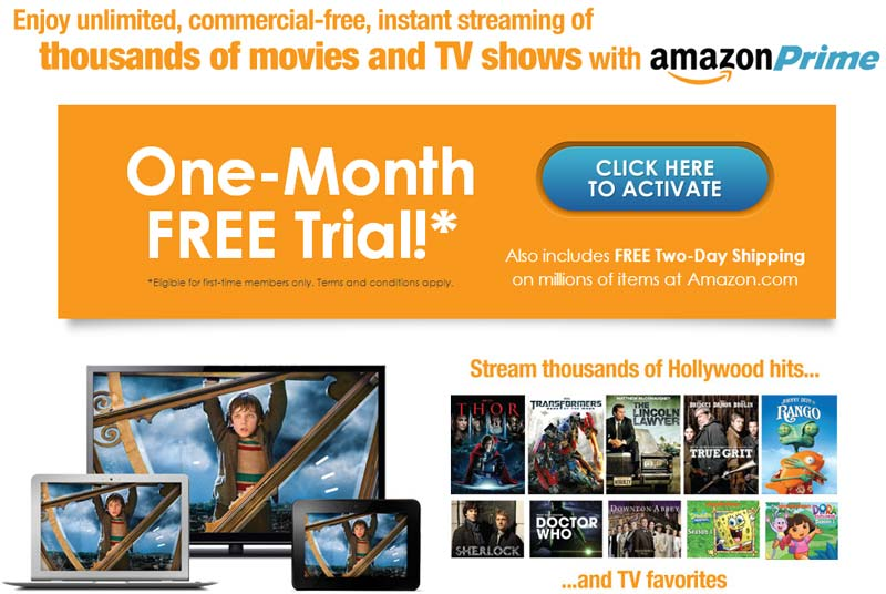 Screenshot of Valpak's Amazon Prime One-Month Free Trial Offer