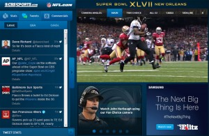 Screenshot of CBS's live stream of Super Bowl XLVII